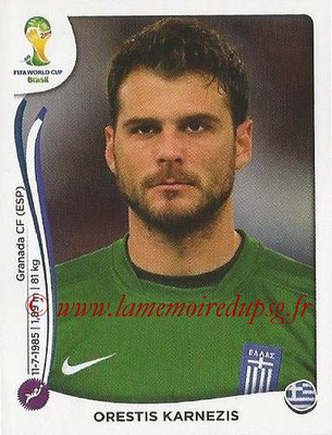 2014 - Panini FIFA World Cup Brazil Stickers - N° 205 - Orestis KARNEZIS (Grèce)