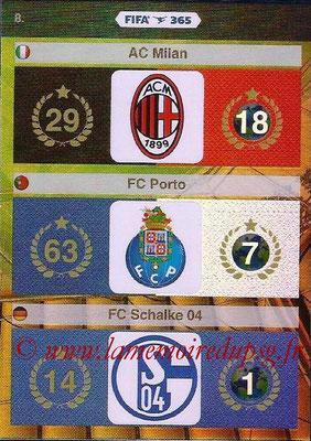 2015-16 - Panini Adrenalyn XL FIFA 365 - N° 008 - Logo et Palmarès Milan AC + FC Porto + FC Schalke 04