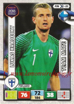2018 - Panini Road to FIFA World Cup Russia Adrenalyn XL - N° FIN01 - Lukas HRADECKY (Finlande)