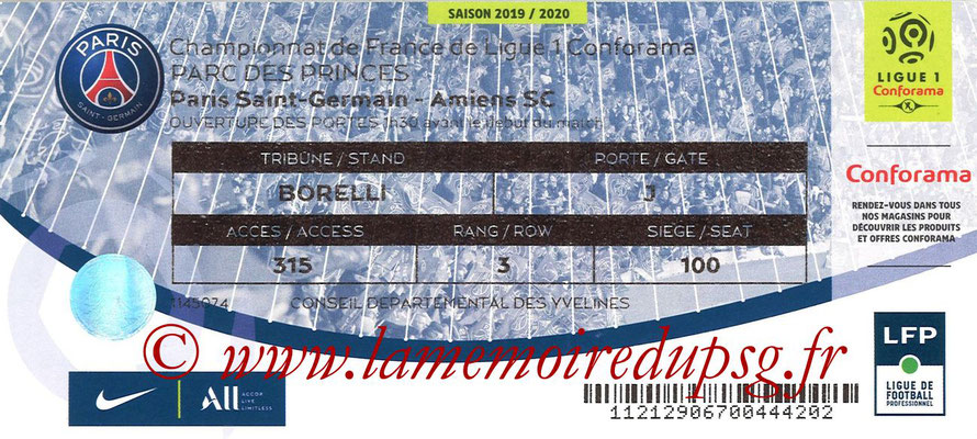 Tickets  PSG-Amiens  2019-20