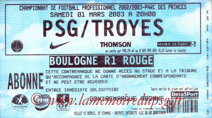 Tickets  PSG-Troyes  2002-03