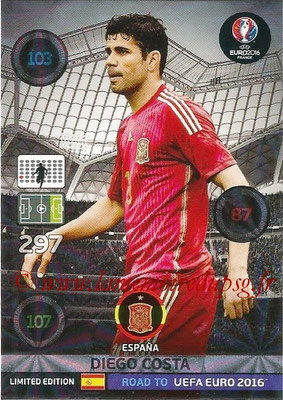 Panini Road to Euro 2016 Cards - N° LE-DC - Diego COSTA (Espagne) (Limited Edition)