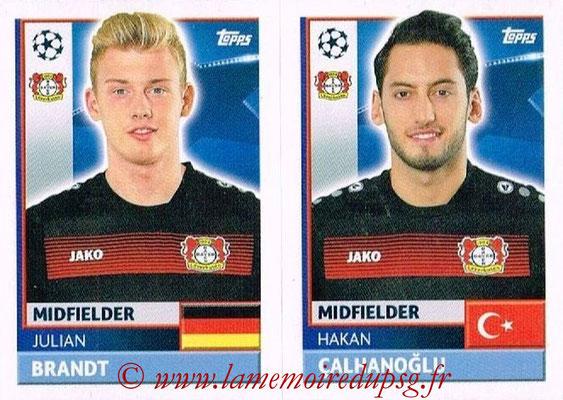 2016-17 - Topps UEFA Champions League Stickers - N° LEV 14-15 - Hakan CALHANOGLU + Julian BRANDT (Bayer 04 Leverkusen)