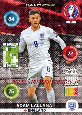 Panini Euro 2016 Cards - N° 089 - Adam LALLANA (Angleterre) (Dynamo)