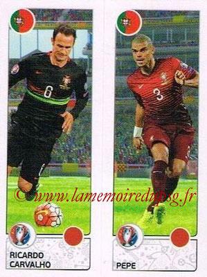 Panini Euro 2016 Stickers - N° 599 - Ricardo CARVALHO + PEPE (Portugal)