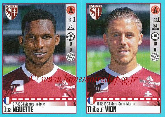 2016-17 - Panini Ligue 1 Stickers - N° 462 + 463 - Opa NGUETTE + Thibaut VION (Metz)