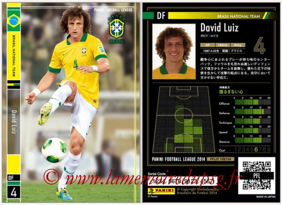 Panini Football League 2014 - PFL07 - N° 109 - David LUIZ (Bresil)