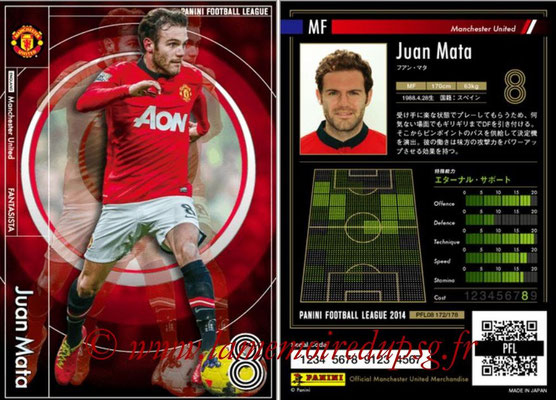 Panini Football League 2014 - PFL08 - N° 172 - Juan MATA (Manchester United) (Fantasista)