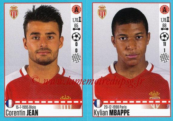 2016-17 - Panini Ligue 1 Stickers - N° 504 + 505 - Corentin JEAN + Kylian MBAPPE (Monaco)