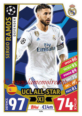 2017-18 - Topps UEFA Champions League Match Attax - N° 434 - Sergio RAMOS (Real Mdrid CF) (UCL All-Star XI)