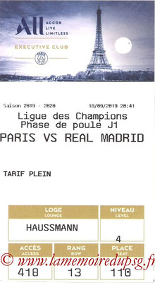 Tickets  PSG-Real Madrid  2019-20