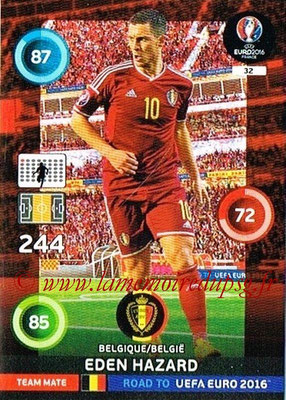 Panini Road to Euro 2016 Cards - N° 032 - Eden HAZARD (Belgique)