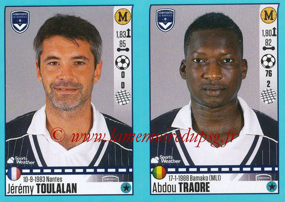 2016-17 - Panini Ligue 1 Stickers - N° 118 + 119 - Jérémy TOULALAN + Abdou TRAORE (Bordeaux)