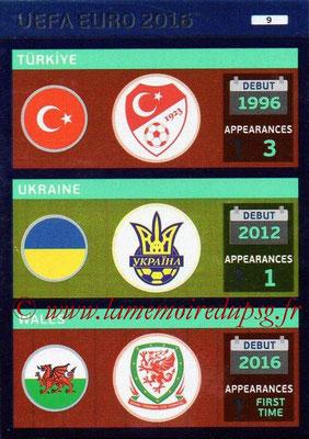 Panini Euro 2016 Cards - N° 009 - Equipes Turquie + Ukraine + Pays de Galles