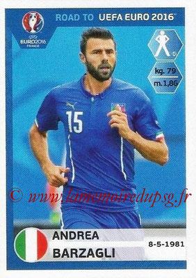 Panini Road to Euro 2016 Stickers - N° 164 - Andrea BARZAGLI (Italie)