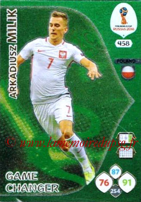 2018 - Panini FIFA World Cup Russia Adrenalyn XL - N° 458 - Arkadiusz MILIK (Pologne) (Game Changer)