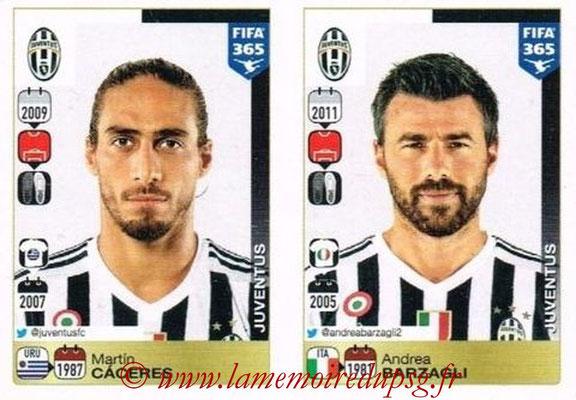 2015-16 - Panini FIFA 365 Stickers - N° 556-557 - Martín CACERES + Andrea BARZAGLI (Juventus FC)