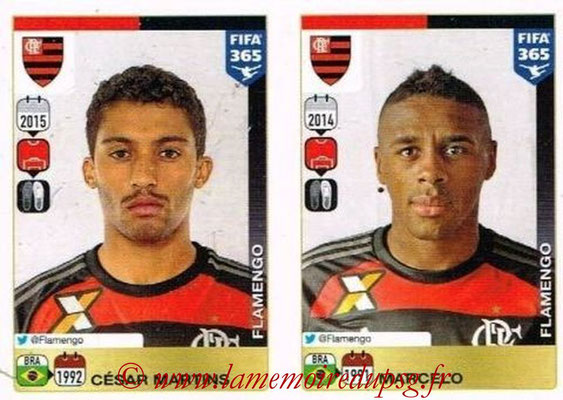 2015-16 - Panini FIFA 365 Stickers - N° 194-195 - Cesar MARTINS + MARCELO (CR Flamengo)