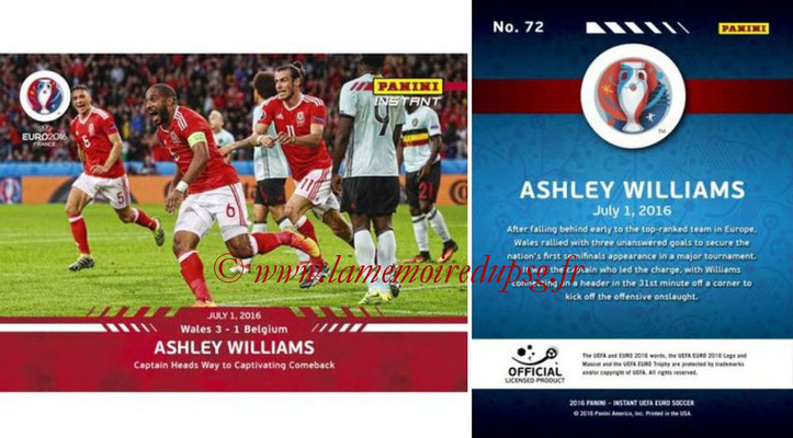Panini Instant Euro 2016 - N° 072 - Ashley WILLIAMS