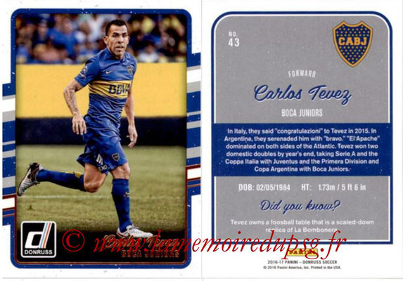 2016 - Panini Donruss Cards - N° 043 - Carlos TEVEZ (CA Boca Juniors)