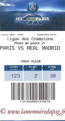 Tickets  PSG-Real Madrid  2019-20