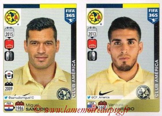 2015-16 - Panini FIFA 365 Stickers - N° 618-619 - Miguel SAMUDIO + Ventura ALAVARADO (Club America)