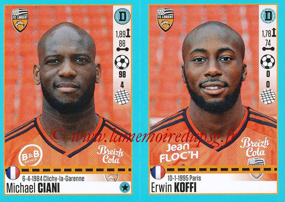 2016-17 - Panini Ligue 1 Stickers - N° 316 + 317 - Michael CIANI + Erwin KOFFI (Lorient)