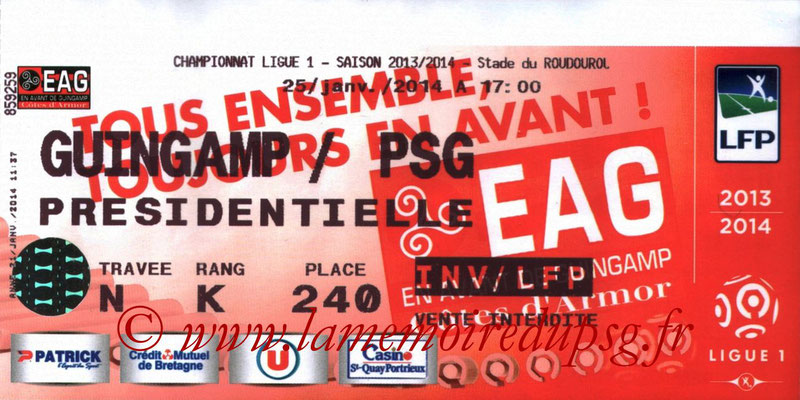 Tickets  Guingamp-PSG  2013-14
