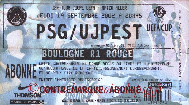 Tickets  PSG-Ujpest  2002-03