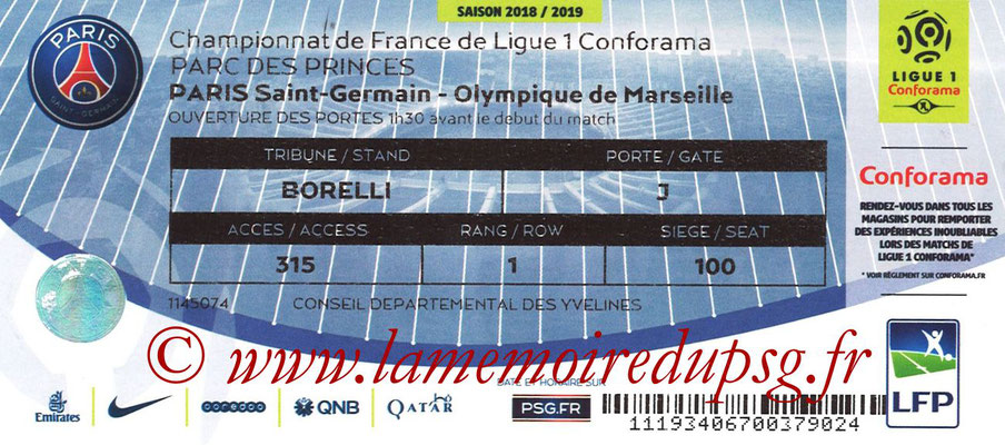Tickets  PSG-Marseille  2018-19