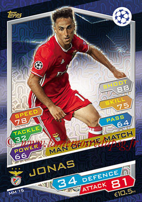 2016-17 - Topps UEFA Champions League Match Attax - N° MM15 - JONAS (SL Benfica) (Man of the Match)