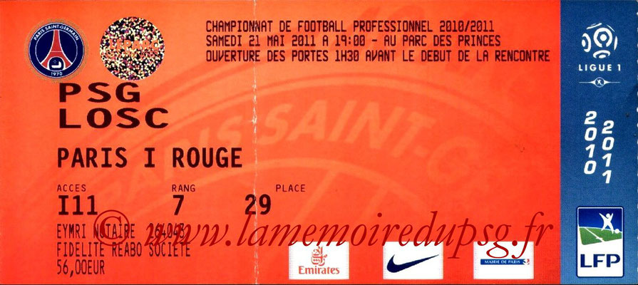 Tickets  PSG-Lille  2010-11
