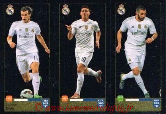 2015-16 - Panini FIFA 365 Stickers - N° 390-391-392 - Gareth BALE + James RODRIGUEZ + Karim BENZEMA (Real Madrid CF)