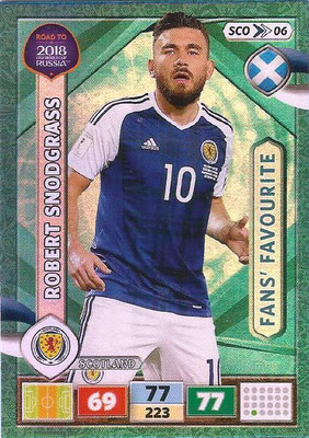2018 - Panini Road to FIFA World Cup Russia Adrenalyn XL - N° SCO06 - Robert SNODGRASS (Ecosse) (Fans Favourite) (UK Version)