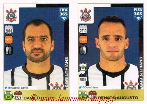 2015-16 - Panini FIFA 365 Stickers - N° 183-184 - DANILO + Renato AUGUSTO (SC Corinthians)