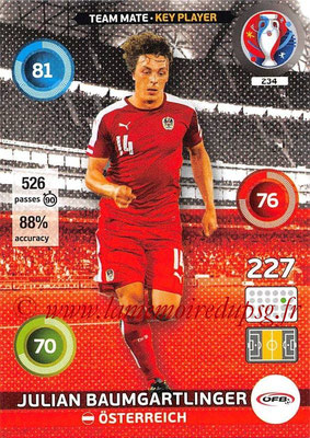 Panini Euro 2016 Cards - N° 234 - Julian BAUMGARTLINGER (Autriche) (Key Player)