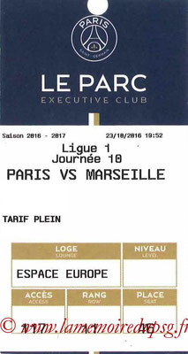 Tickets  PSG-Marseille  2016-17