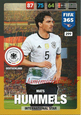2016-17 - Panini Adrenalyn XL FIFA 365 - N° 299 - Mats HUMMEL (Allemagne) (International Star)