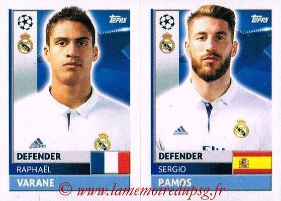 2016-17 - Topps UEFA Champions League Stickers - N° REA 8-9 - Sergio RAMOS + Raphaël VARANO (Real Madrid CF)