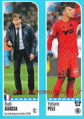 2016-17 - Panini Ligue 1 Stickers - N° 386 + 387 - Rudi GARCIA + Yohann PELE (Marseille)