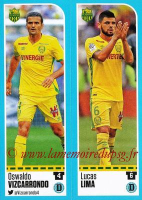 2016-17 - Panini Ligue 1 Stickers - N° 600 + 601 - Oswaldo VIZCARRONDO + Lucas LIMA (Nantes)