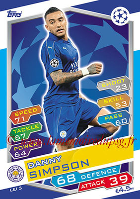 2016-17 - Topps UEFA Champions League Match Attax - N° LEI3 - Danny SIMPSON (Leicester City FC)
