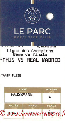 Tickets  PSG-Real Madrid  2017-18