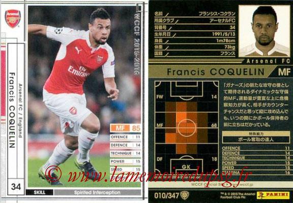 2015-16 - Panini WCCF - N° 010 - Francis COQUELIN (Arsenal FC)