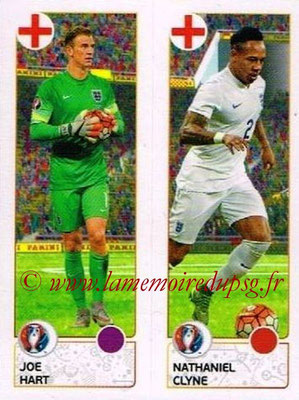 Panini Euro 2016 Stickers - N° 150 - Joe HART + Nathaniel CLYNE (Angleterre)