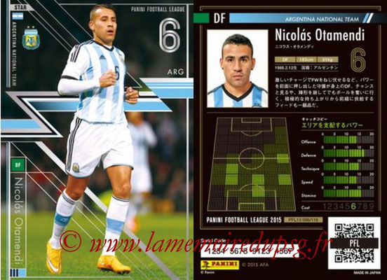 Panini Football League 2015 - PFL13 - N° 086 - Nicolas OTAMENDI (Argentine) (Star)