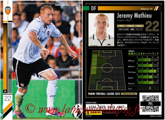 Panini Football League 2013 - PFL01 - N° 071 - Jeremy Mathieu ( Valencia CF )