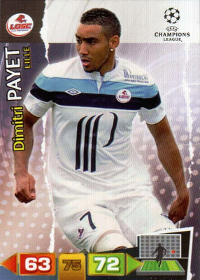 2011-12 - Panini Champions League Cards - N° 129 - Dimitri PAYET (Lille)