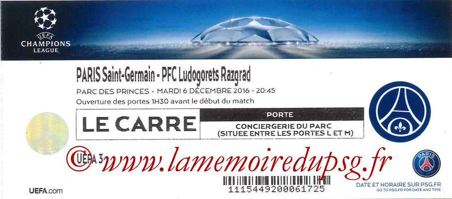 Tickets  PSG-Ludogorets  2016-17