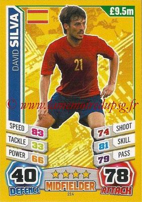 Topps Match Attax England 2014 - N° 214 - David SILVA (Espagne)
